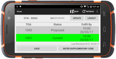 4PTW App interface for rugged device