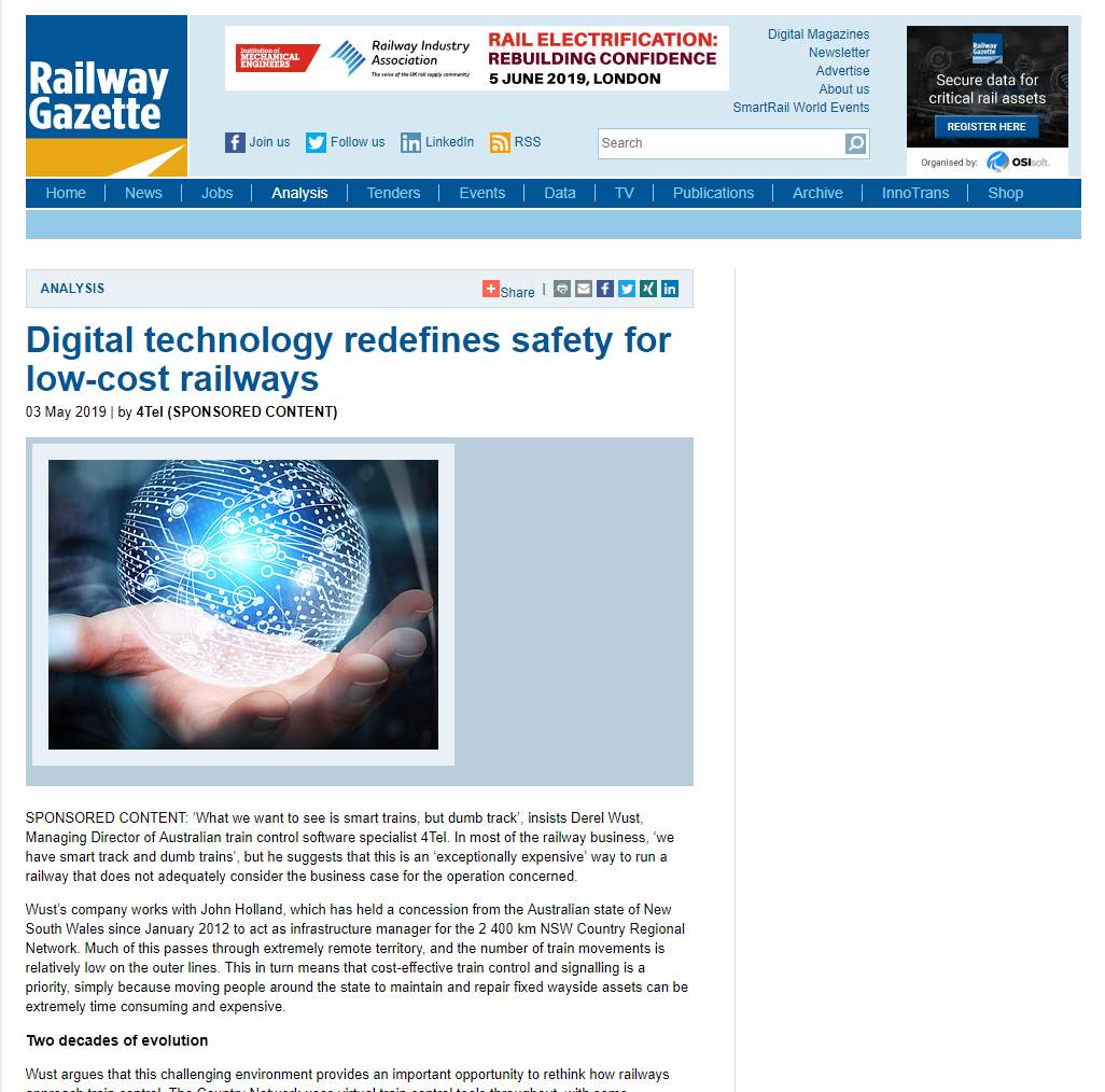 Digital technology redefines safety for low cost railways article
